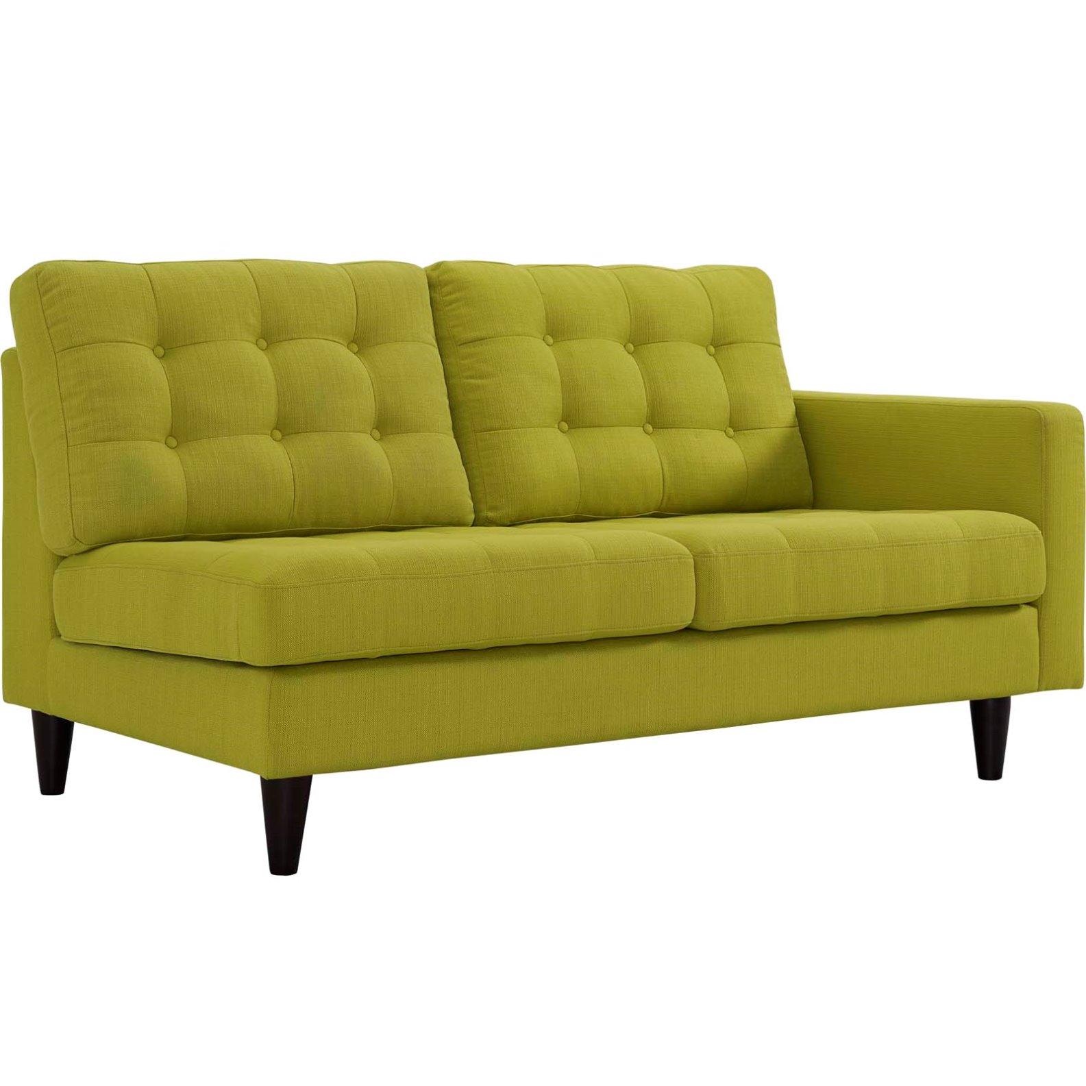 Modern Contemporary Urban Design Living Lounge Room Right-Facing Loveseat Sofa, Green, Fabric