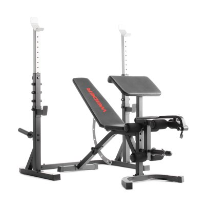 Weider Attack Series Olympic Bench and Rack with Removable Preacher Curl Pad and Adjustable Spotting Arms