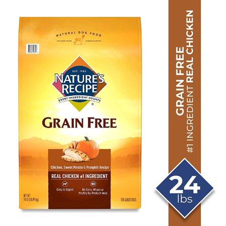 Nature's Recipe Grain Free Chicken, Sweet Potato & Pumpkin Recipe Dry Dog Food, 24 Pounds, Easy to