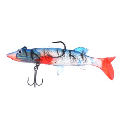 Unique Bargains Artificial Red Clear Soft Silicone Fish Shaped Lure Bait W Triple Hook