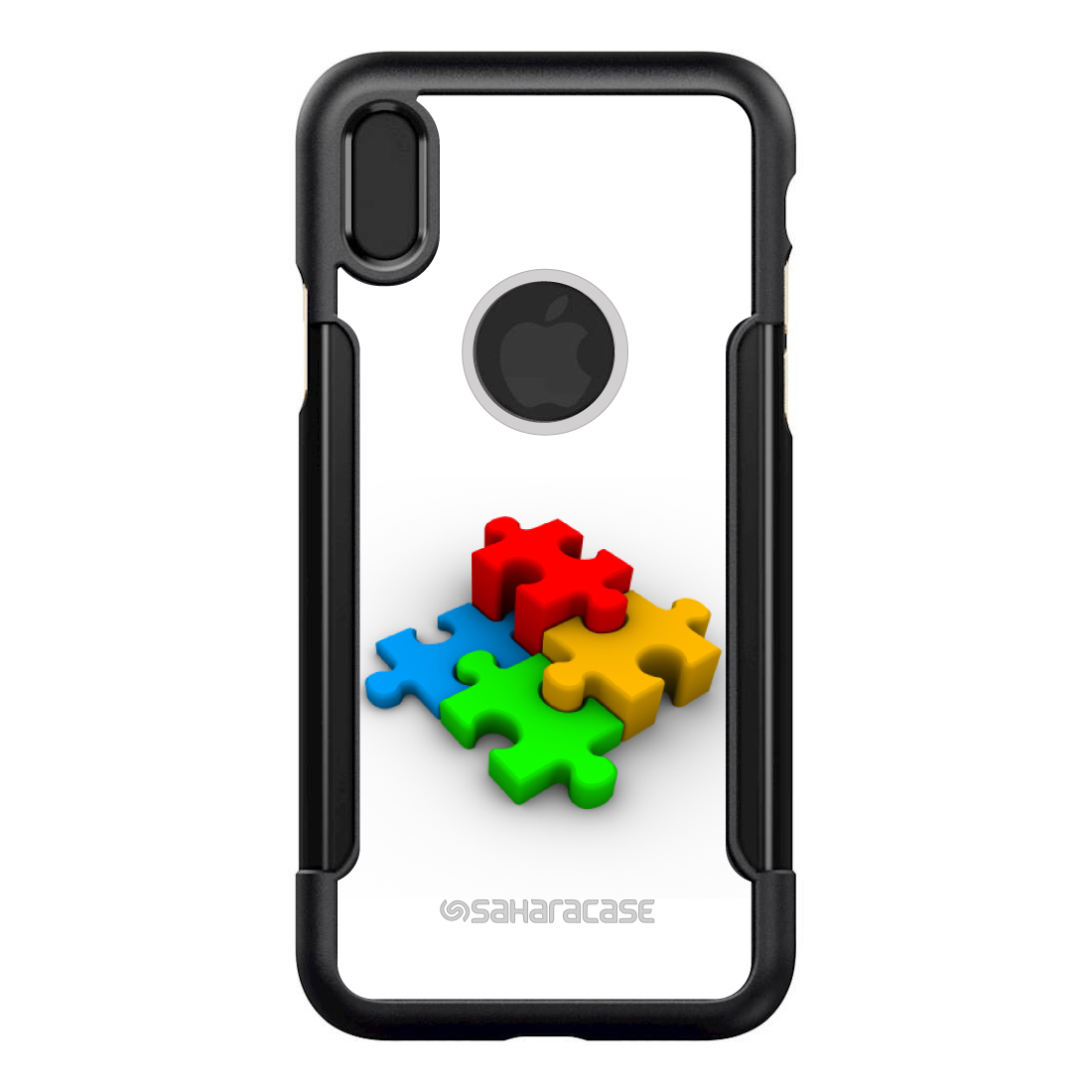 """SaharaCase iPhone X / XS (5.8"""" Screen) Black Shockproof Custom Case By DistinctInk - Protective Kit & ZeroDamage Screen Protector - Red Blue Yellow 3D Puzzle Pieces"""
