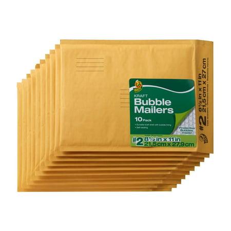duck brand 2 kraft bubble mailers 8 5 x 11 10 pack walmart com