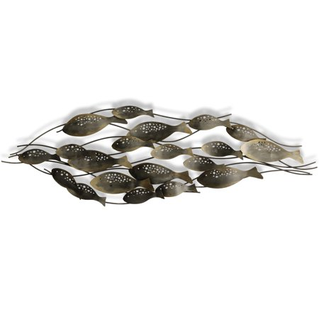 Magnolia Metal Wall Sculpture (Fish School - Exclusive by BJ Keith - Hand Made Forged Metal Wall Sculpture - Vertical and Horizontal Mount)