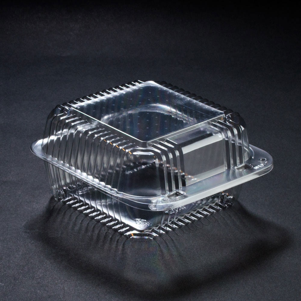 6 x 6 x 3 PETE Square Plastic Clear Hinged Containers/Set of 500