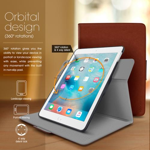 iPad Air Case - roocase Orb Folio 360 Rotating Case with Detachable iPad Air Shell for Apple iPad Air 1 2013 / Air 2 2014 [Support Smart Cover Sleep / Wake Feature]