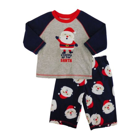 9854c3f0d Child of Mine by Carter's - Carters Infant Boys Staying Up For Santa  Christmas Fleece Pajama Set 12m - Walmart.com