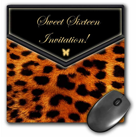 Sweet Mouse - 3dRose Leopard Sweet Sixteen Invitation, Mouse Pad, 8 by 8 inches