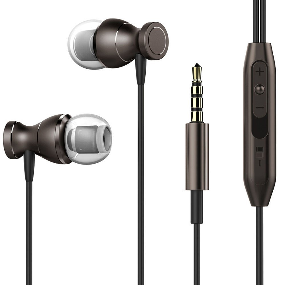 Magnetic Metal 3.5mm Super Bass Stereo Earbuds Headsets with Mic for Mobile Phone MP3 MP4(Gray)