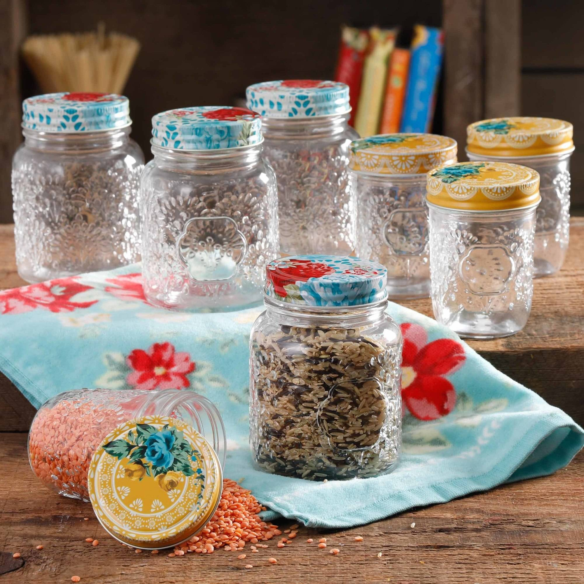 The Pioneer Woman Betsy 8-Ounce and 16-Ounce Storage Jar Set, Set of 8