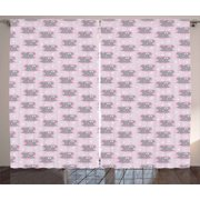 Pink and Grey Curtains 2 Panels Set, Little Mouse Characters with Hearts on Striped Backdrop for Toddler Nursery, Window Drapes for Living Room Bedroom, 108W X 63L Inches, Pink Grey, by Ambesonne