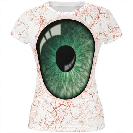 Halloween Green Creepy Eyeball Costume All Over Juniors T Shirt - Eyeball Costume