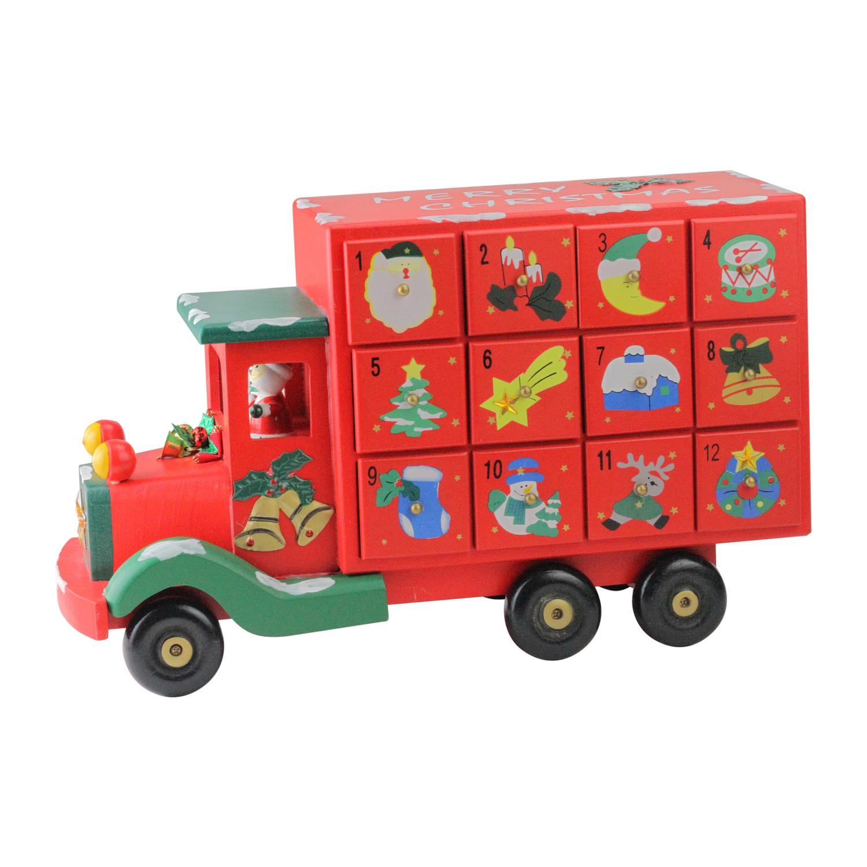 Northlight 14 in. Childrens Red Storage Truck Advent Calendar
