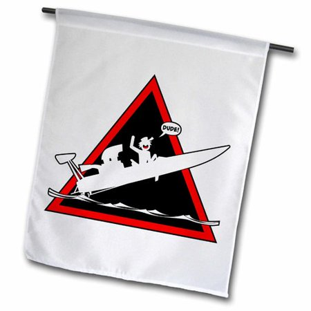 3dRose Drag boat danger triangle, stickman getting air, word balloon dude, Garden Flag, 12 by 18-Inch