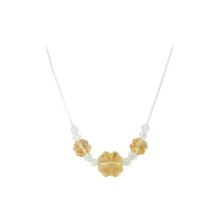 Gem Avenue Sterling Silver Yellow Multi Flower Crystal Necklace 16