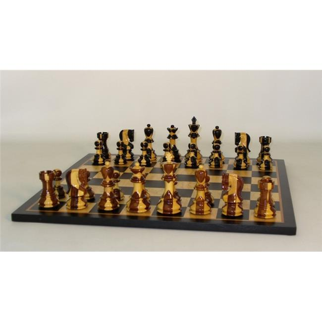 WW Chess 37SI-BBM Inlaid Russian on Blk Birdseye Brd Chess Set Wood by WW Chess