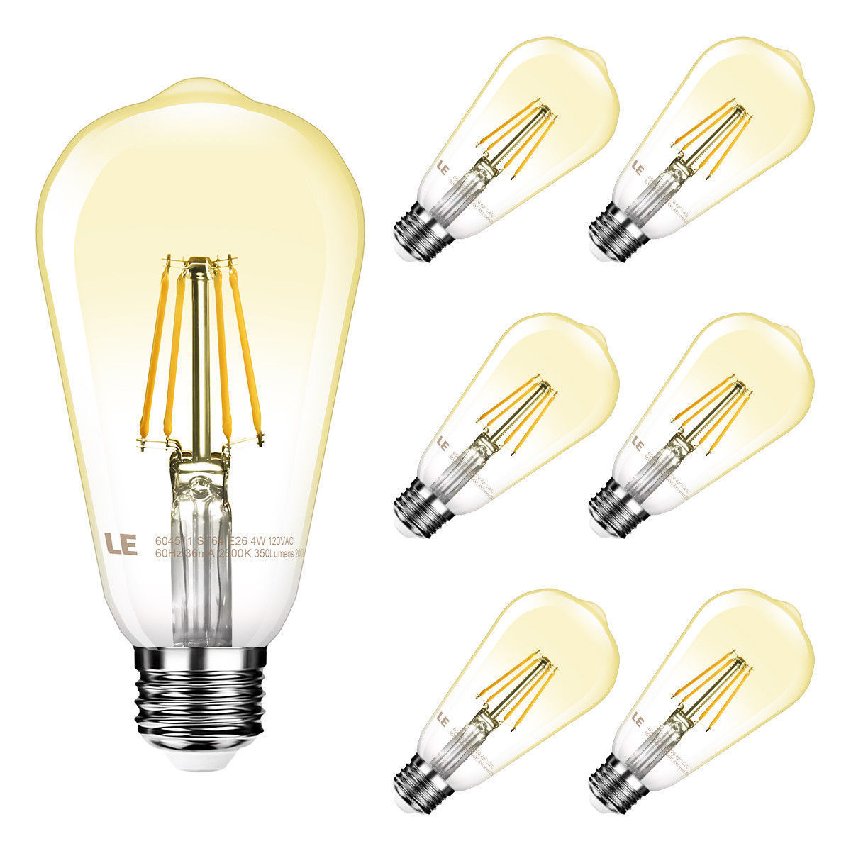 Lighting EVER 6 x ST64 LED Filament Edison Bulb Dimmable Retro Globe Lamp Vintage Light 2500K