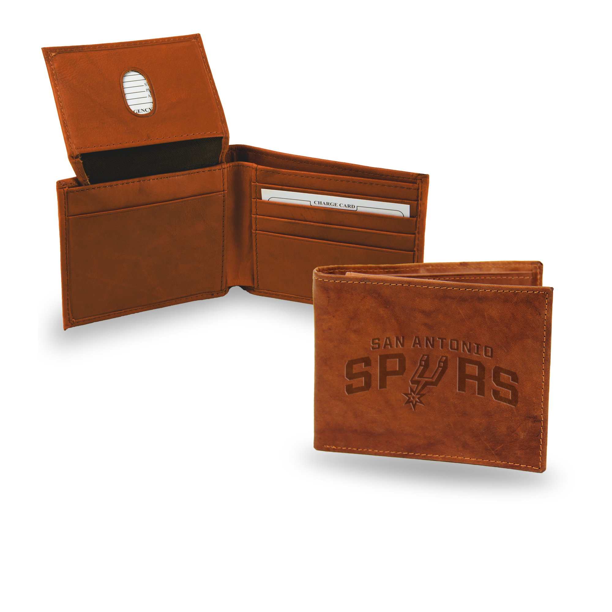 San Antonio Spurs NBA Embossed Team Logo Brown Leather Billfold Wallet