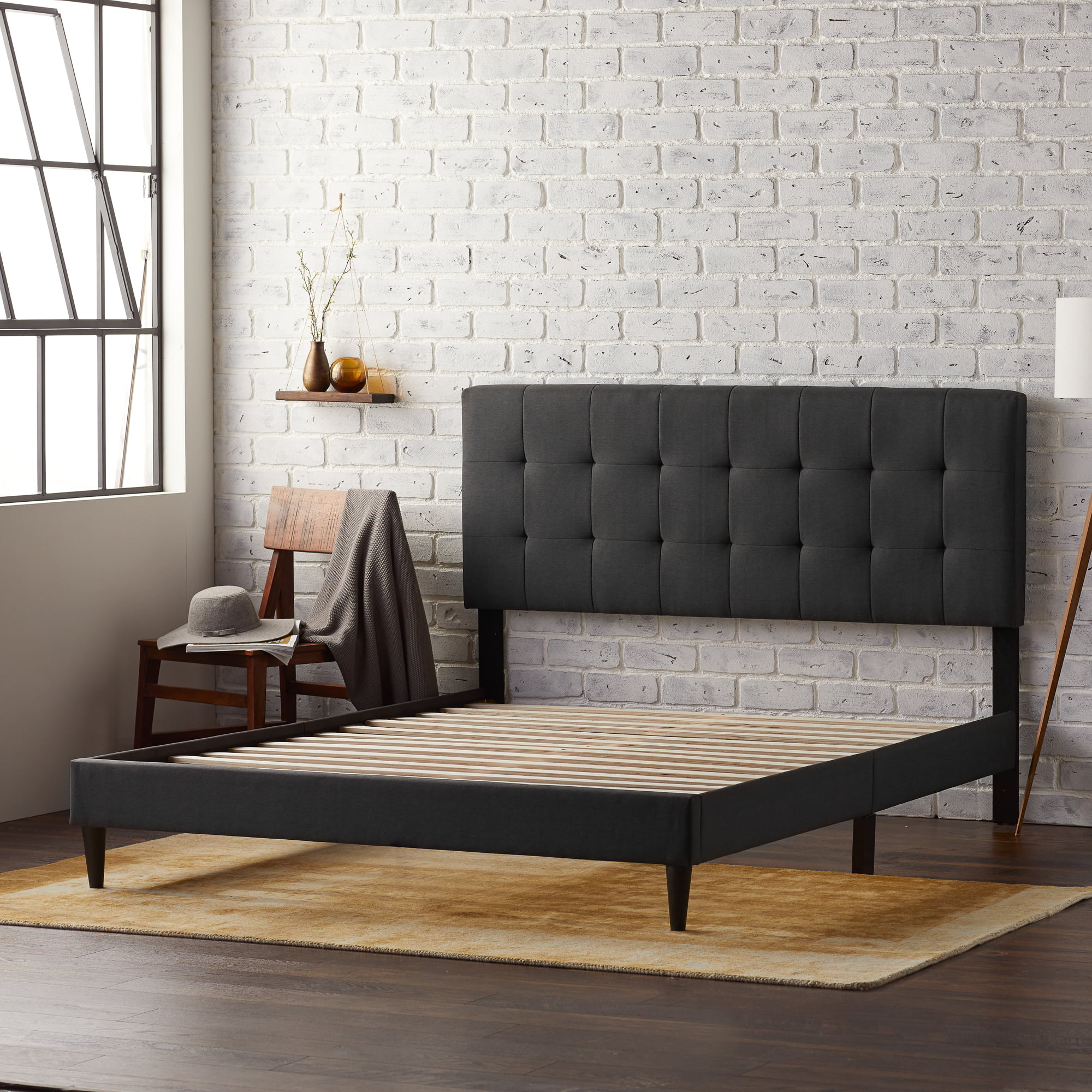 Picture of: Rest Haven Upholstered Platform Bed Frame With Square Tufted Headboard Queen Charcoal Walmart Com Walmart Com