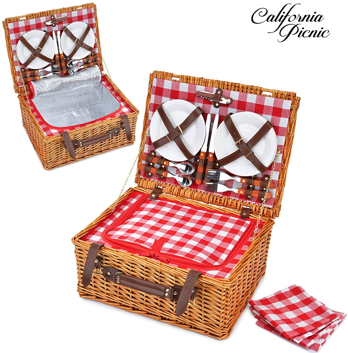 Picnic Basket Set for 4 Person | INSULATED Red Picnic Hamper Set | Folding Picnic Blanket | Picnic Table Set | Picnic Plates | Picnic Supplies | Summer Picnic Kit | Picnic Utensils Cutlery Flatware