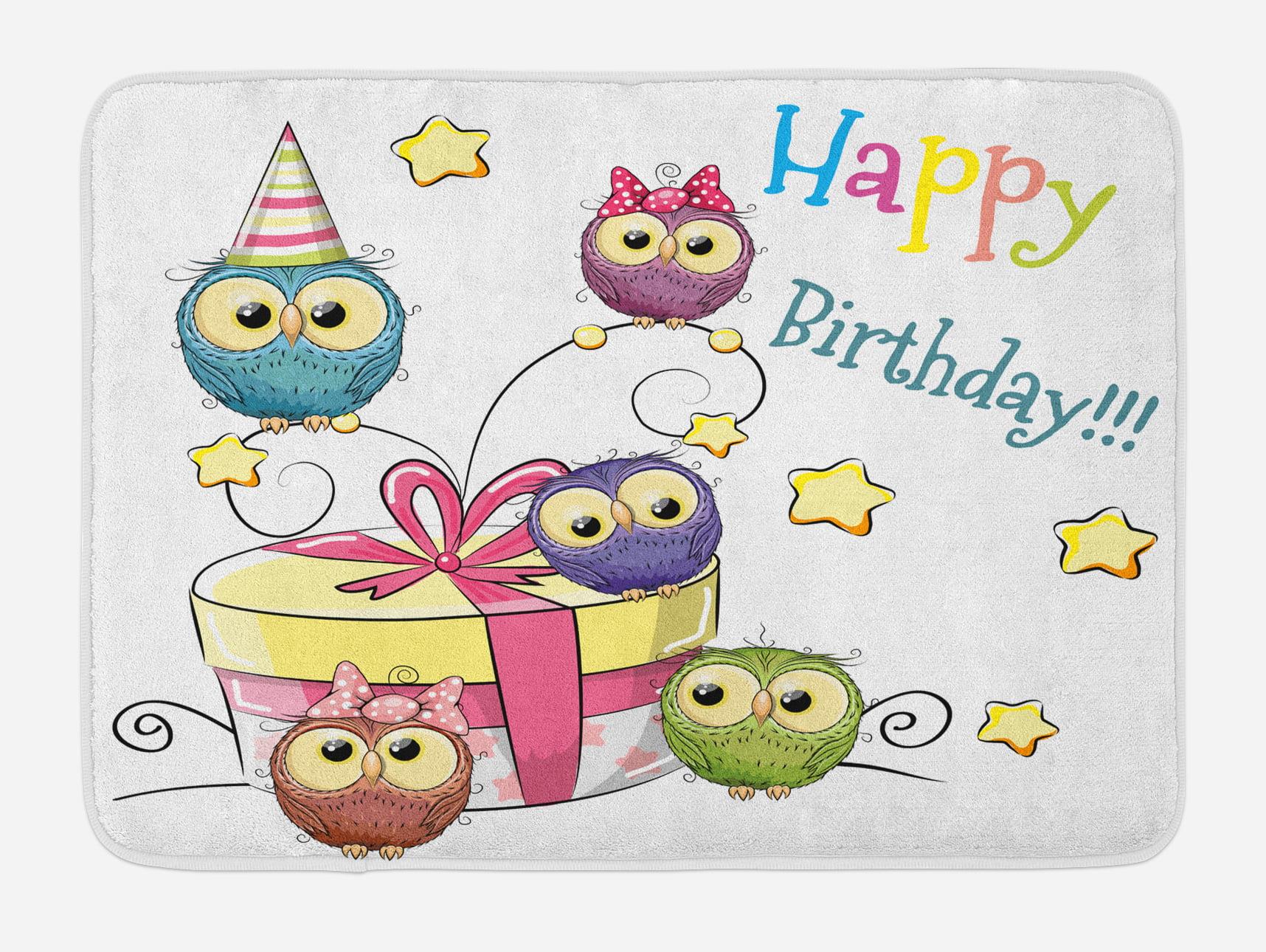 Kids Birthday Bath Mat, Sketchy Hand Drawn Baby Owls on Surprise Present Box and Stars... by 3decor llc