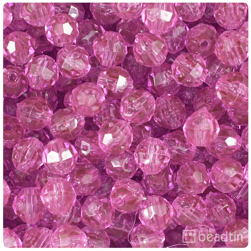 BeadTin Light Fuchsia Transparent 10mm Faceted Round Craft Beads (210pcs)