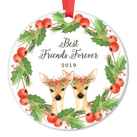 Best Friends Deer Christmas Ornament 2019, Friendship Forever Xmas Present for BFF Bestie Soul Sisters Doe Floral Wreath Ceramic Porcelain 3