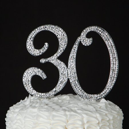 30 Cake Topper for 30th Birthday or Anniversary Silver Crystal Rhinestone Party Decoration (Silver) (30 Birthday)