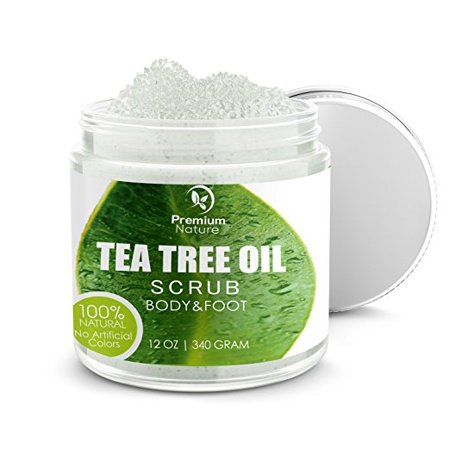 Antifungal Tea Tree Body & Foot Scrub - 12 oz 100% Natural Antibacterial Exfoliator - Best Fungal Treatment Prevents Acne Dandruff Calluses Athlete's Foot Jock Itch - Premium