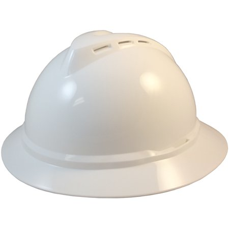 MSA 500 Series Full Brim Vented Hard Hats with 6 Point Ratchet Suspensions - White Construction Helmet