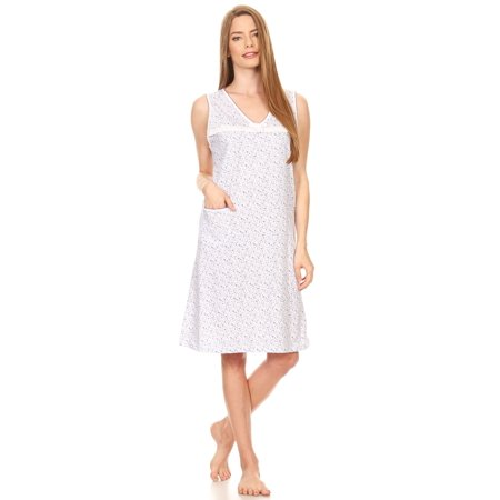 910 Womens Nightgown Sleepwear Cotton Pajamas - Woman Sleeveless Sleep Dress Nightshirt Purple L ()