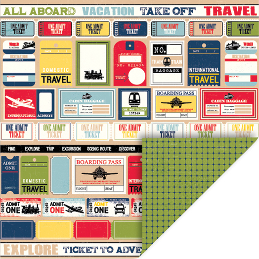 Travel Double-Sided Cardstock 12 Inch X 12 Inch-Tickets-Diamonds