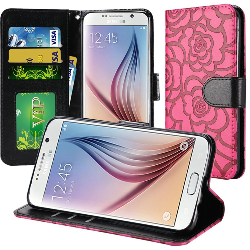 Samsung Galaxy S8 Plus Case - Wydan Leather Wallet Case Flower Flip Foldable Kickstand Credit Card Cover Hot Pink