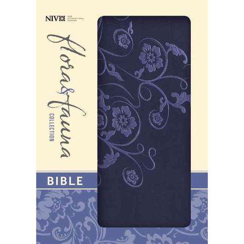 Holy Bible: New International Version, Marina Blue / Floral, Italian Duo-Tone, Flora & Fauna Collection