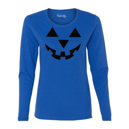 Jack O' Lantern Pumpkin Halloween Costume Womens Long Sleeve T-Shirt - Halloween Jack O Lantern Blaze