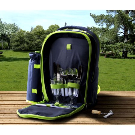 Insulated Picnic Basket - Tote Backpack Cooler w/ Place Settings - Bahamas Picnic Basket Cooler Tote