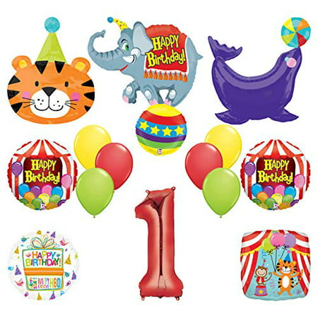 Mayflower Products Circus Theme Big Top 1st Birthday Party Supplies and Balloon Bouquet Decorations Elephant, Tiger and Seal (Circus Theme)
