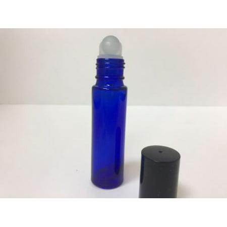Roll On Bottle - 3 - Bottles Cobalt Blue 10 ml GLASS Roll On Bottle With Black Cap