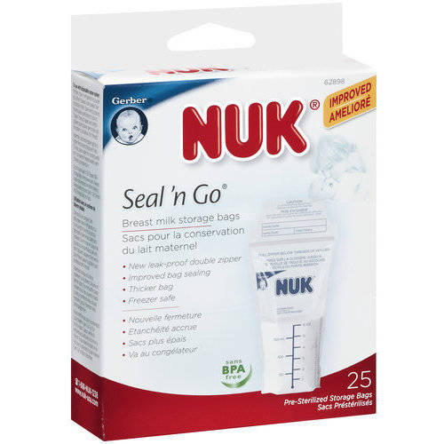Gerber Nuk Seal 'N Go Breast Milk Storage Bags, 25ct