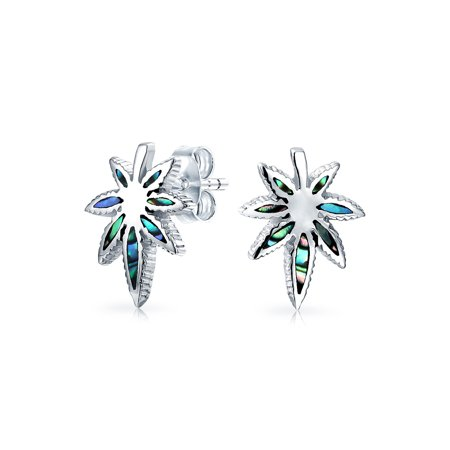 Abalone Shell Iridescent THC Marijuana Cannabis Leaf Weed Pot Stud Earrings For Women 925 Sterling Silver