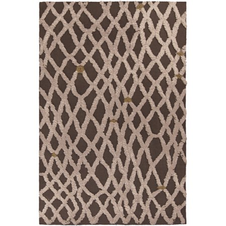 5' x 8' Gated Monsoon Chocolate Brown, Beige and Tan Hand Woven Wool Area Throw