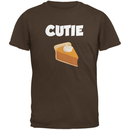 Thanksgiving Cutie Pie Brown Adult T-Shirt - Thanksgiving Crafts For Adults