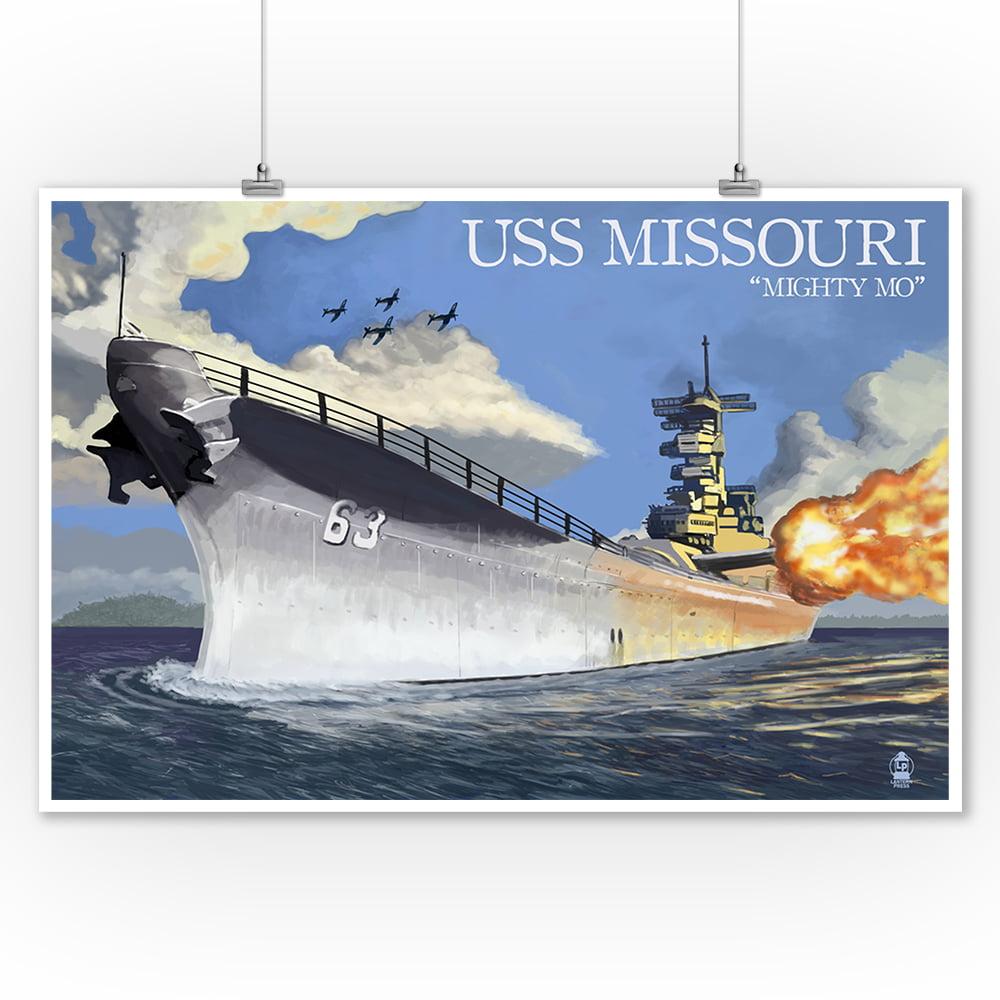 USS Missouri Battleship Firing Guns Wall Picture Art Print