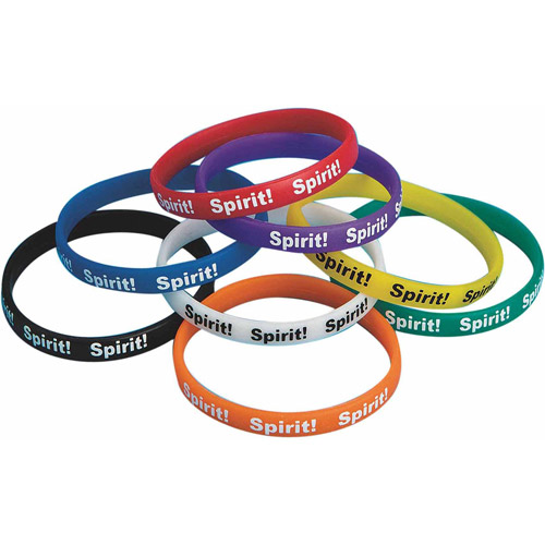 Flexible Silicone Spirit Bracelets, Pack of 24, Yellow
