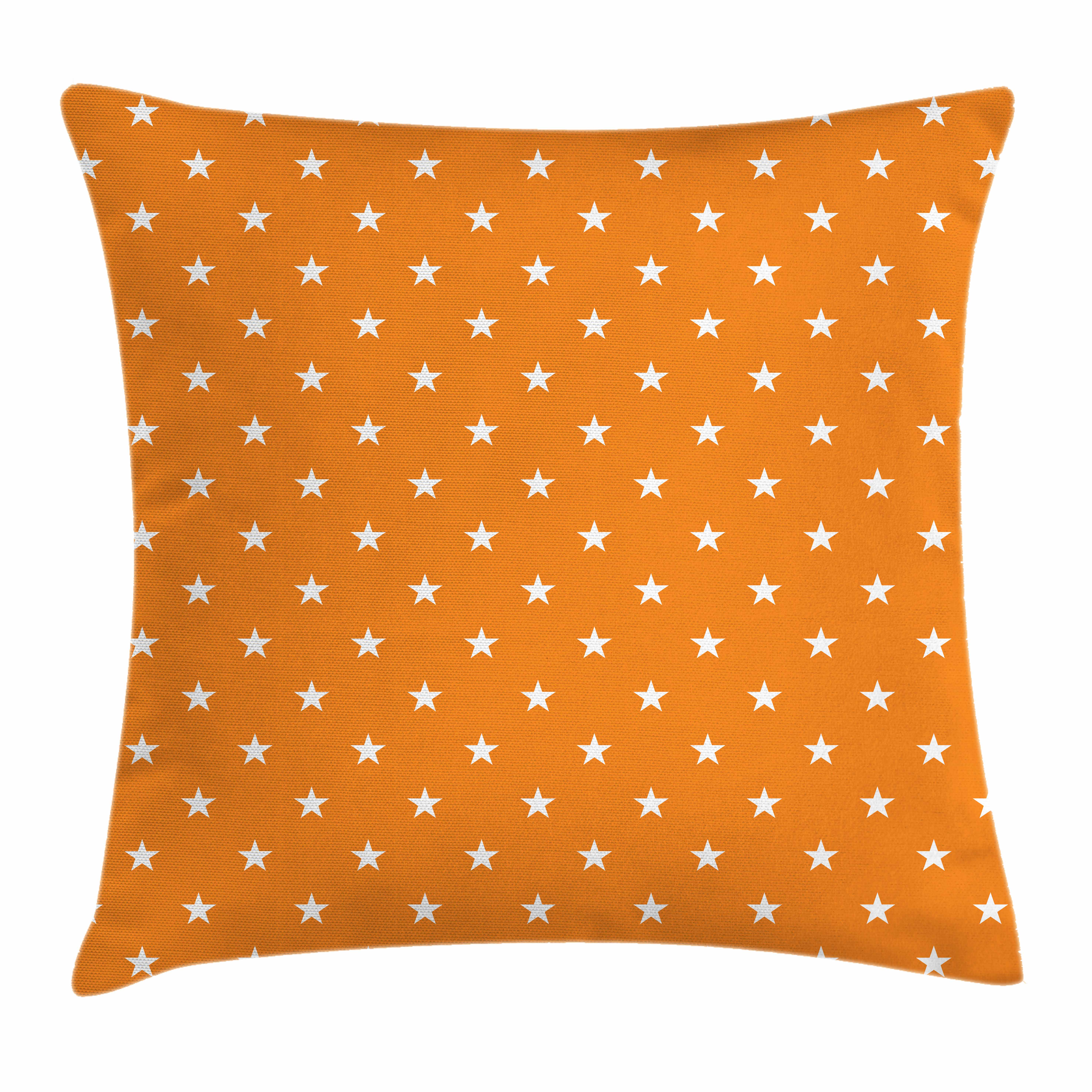 Stars Throw Pillow Cushion Cover, Abstract Warm Colored Background with Star Pattern Festive Celebration Pattern, Decorative Square Accent Pillow Case, 16 X 16 Inches, Orange White, by Ambesonne