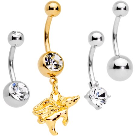 Body Candy 14g Plated Steel 4pc Navel Ring Piercing Clear Accent When Pigs Fly Belly Button Ring Set Of 4