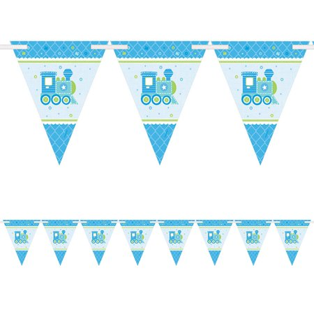 Welcome Little One Boy Pennant Banner (Each) - Baby Shower Party Supplies](Welcome Baby Boy Banner)