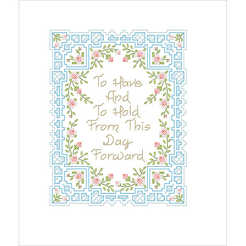 """Bucilla To Have And To Hold Stamped Cross Stitch Kit, 7"""" x 9"""""""