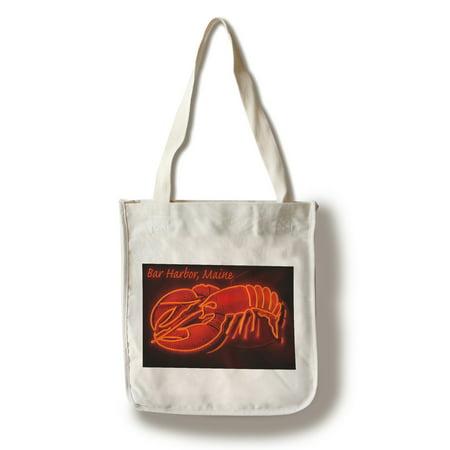 Bar Harbor, Maine - Lobster Neon - Lantern Press Poster (100% Cotton Tote Bag - Reusable)