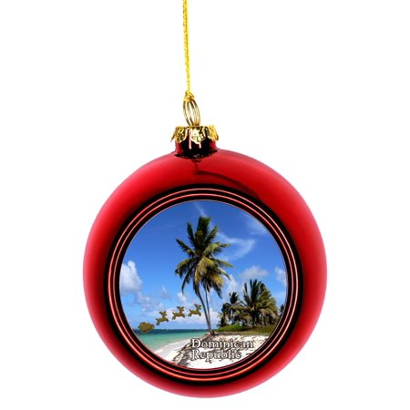 Sleigh Ride Christmas Ornament (Santa Klaus and Sleigh Riding Over Punta Cana Beach Dominican Republic Bauble Christmas Ornaments Red Bauble Tree)