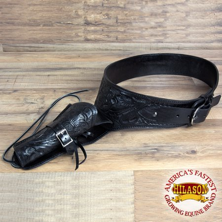 34 IN HAND CARVED WESTERN COWBOY LEATHER GUN HOLSTER 45 CALIBER RIGHT HAND BLACK - Double Cowboy Holster